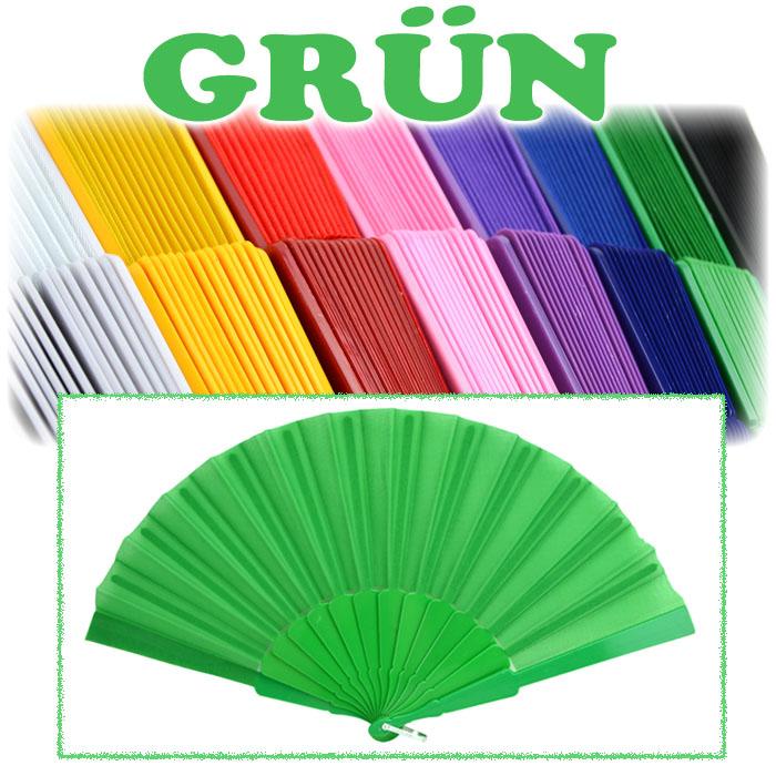 407356 Handfächer Taschenfächer Stofffächer Klappfächer Windfächer 10x Grün