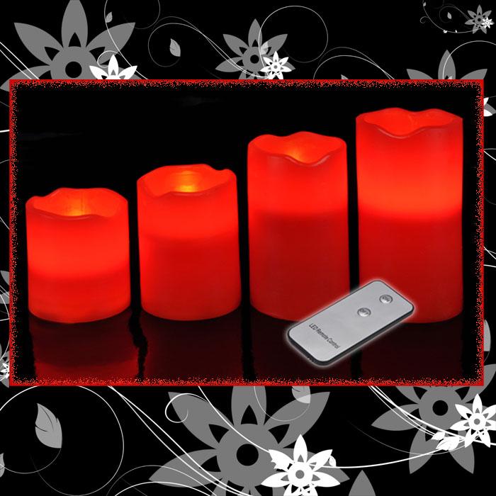 4 x xxl led kerzen fernbedienung kerze wachs flammenlos leuchten wachskerzen ebay. Black Bedroom Furniture Sets. Home Design Ideas
