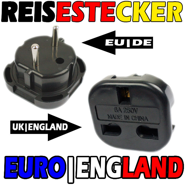 schwarz reisestecker england deutschland adapter gb uk ebay. Black Bedroom Furniture Sets. Home Design Ideas