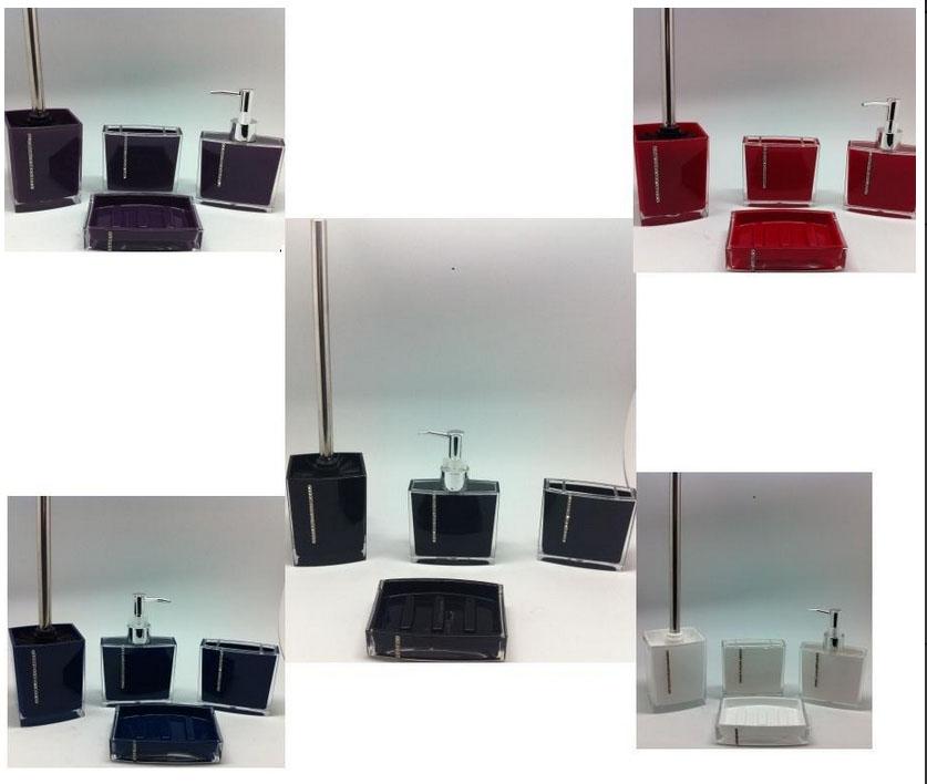5 teilig bad badezimmer set seifenspender wc b rste in glas opti. Black Bedroom Furniture Sets. Home Design Ideas