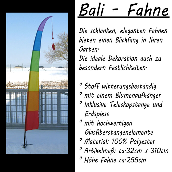 310cm balifahne bali fahne regenbogen gartenfahne teleskopstange windspiel neu eggersdorf. Black Bedroom Furniture Sets. Home Design Ideas