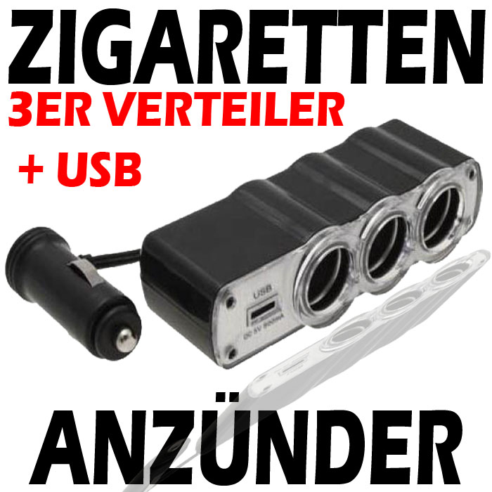 3er zigarettenanz nder usb auto kfz ladeadapter 4in1 ebay. Black Bedroom Furniture Sets. Home Design Ideas