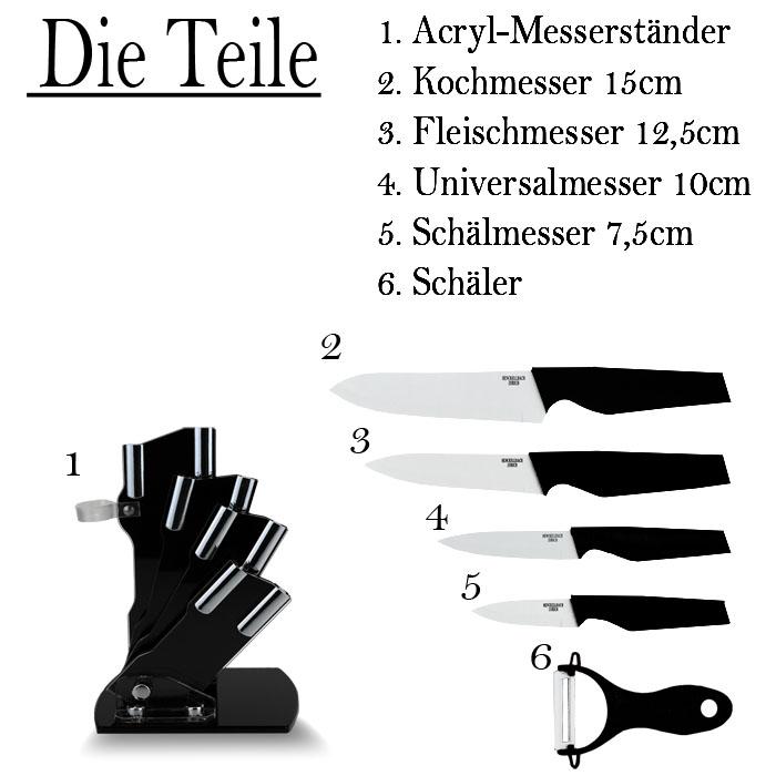 Profi 6 tlg Messerset inkl Messerblock Kochmesser