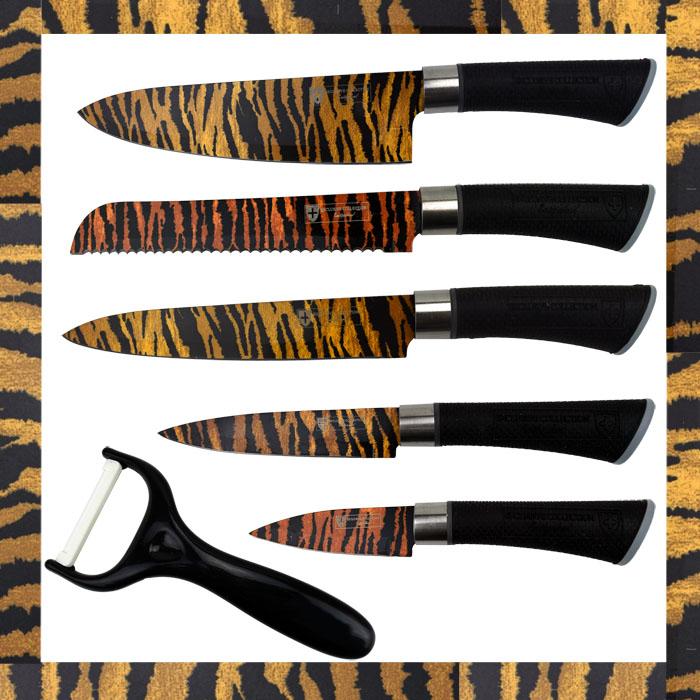 6 tlg messerset k chenmesser kochmesser sparsch ler messer edelstahl tiger look ebay. Black Bedroom Furniture Sets. Home Design Ideas