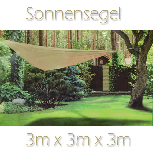 3m sonnensegel sonnenschutz dreieck segel beschattung schattensegel 62313 ebay. Black Bedroom Furniture Sets. Home Design Ideas