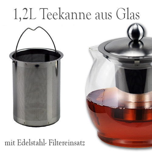 1 2 liter teekanne glas kanne teebereiter glasteekanne mit edelstahl filter ebay. Black Bedroom Furniture Sets. Home Design Ideas