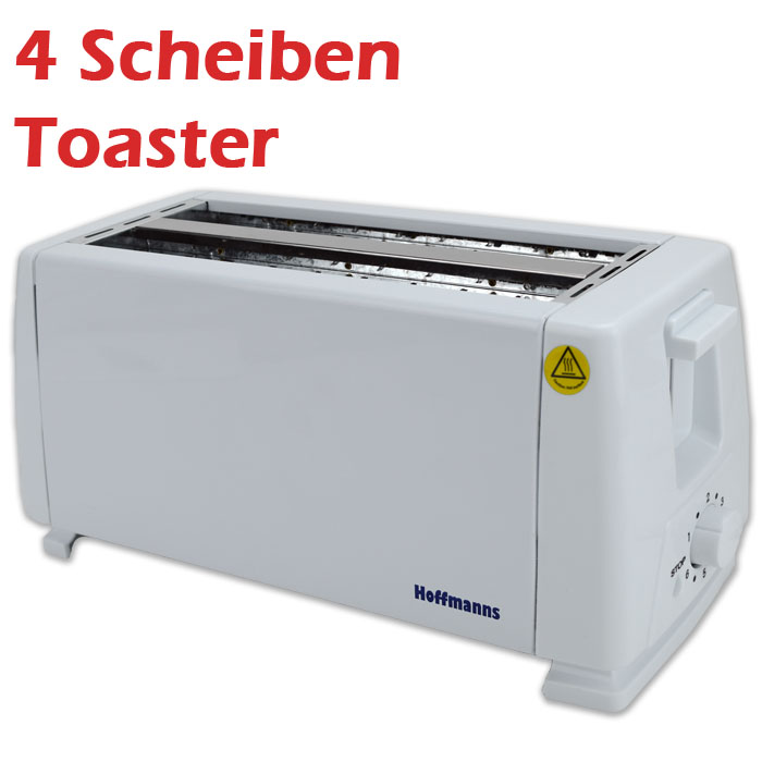 4 scheiben toaster r ster toastautomat toast sandwich br tchen 1200 1400 w wei. Black Bedroom Furniture Sets. Home Design Ideas