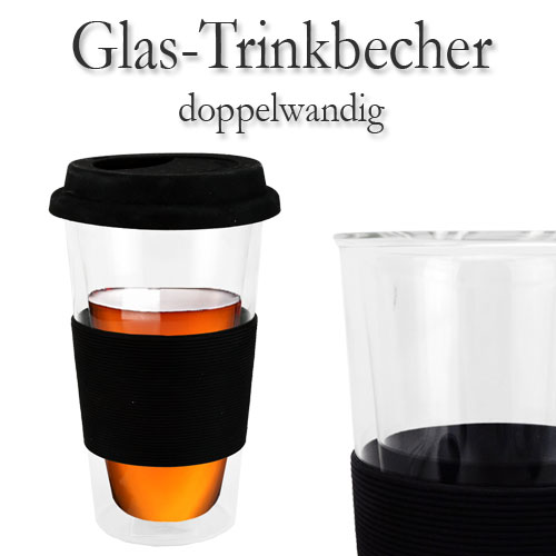 glasbecher trinkbecher doppelwandig coffee to go kaffeebecher becher kaffeetasse ebay. Black Bedroom Furniture Sets. Home Design Ideas