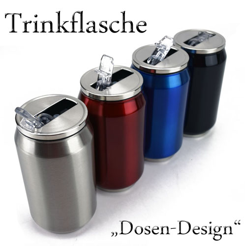 280ml edelstahl trinkbecher trinkflasche getr nkedose dose mit strohhalm 71 2851 ebay. Black Bedroom Furniture Sets. Home Design Ideas