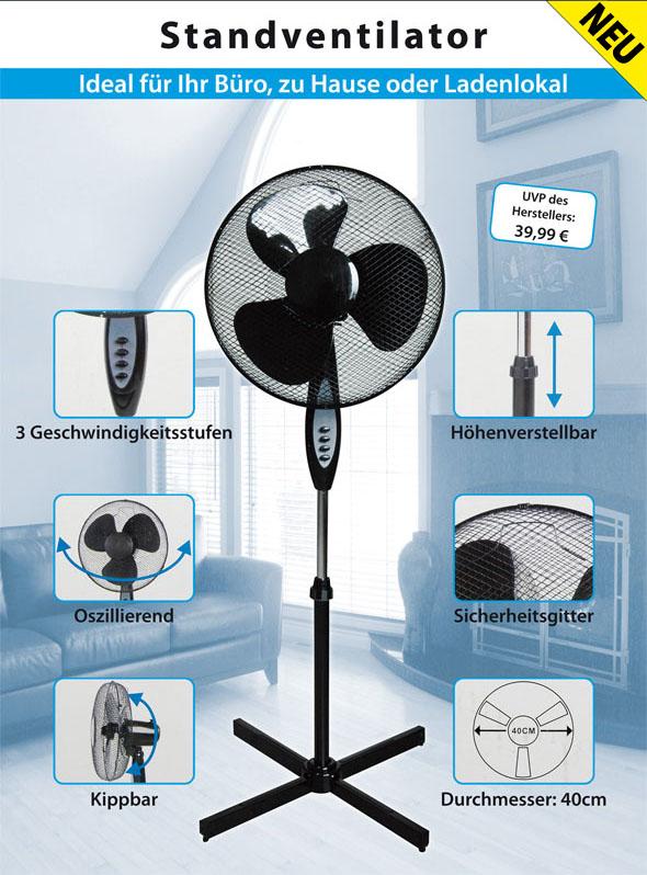 schwarz standventilator ca 40cm ventilator l fter. Black Bedroom Furniture Sets. Home Design Ideas