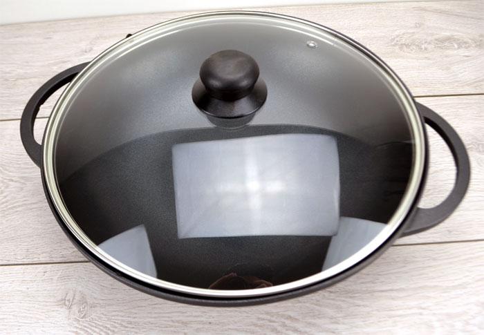 2 tlg aluguss china wok mit glasdeckel wokpfanne 32 cm antih. Black Bedroom Furniture Sets. Home Design Ideas